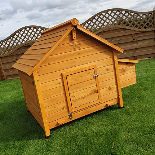 FeelGoodUK House Chicken Coop Nestbox Ventilated Ramp Locks Solid Wood 115cm Width * 85cm Depth * 90cm Height