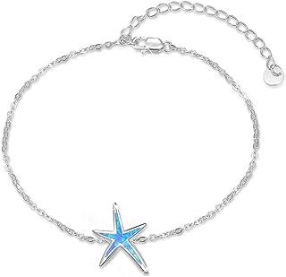 Starfish Bracelet 925 Sterling Silver with White Fire Opal Chain Bracelets Ocean Jewelry Birthday Gift For Women Girls