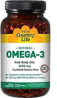 Country Life Omega-3 1000Mg Fish Oil, 200-Softgel
