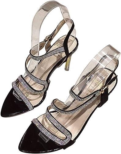 Sexy Word Buckle Sandals 2019 New Rhinestones Versátil tacón Alto Stiletto schwarz schuhe de damen Bombas (Farbe   schwarz, Größe   35)