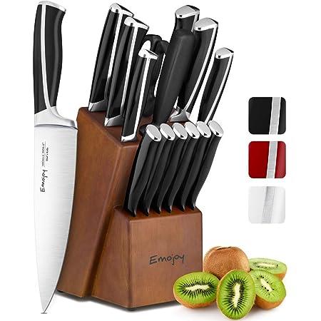 Emojoy Ensemble de Couteaux, 15 pièces Bloc de Couteaux de Cuisine avec Bloc, poignée en ABS pour Lot de Couteaux de Cuisine, Acier Inoxydable Allemand (Noir)