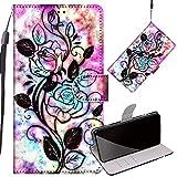 Yiizy Handyhüllen für LG Q6 M700N M700A, Blume Ledertasche Flip Hülle Wallet Stylish mit Standfunktion Magnetisch PU Tasche Schutzhülle passt für LG Q6 Smartphone