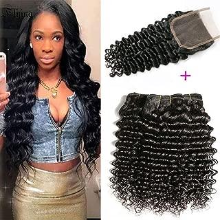 Jaycee Brazilian Deep Wave Hair 4 Bundles with Closure 9A Unprocessed Virgin Brazilian Hair Deep Wave Human Hair Bundles with Closure Natural Black(16 18 20 22+14)