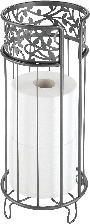mDesign Portarrollos de pie – Moderno portarrollos de papel higiénico con base para el baño – Dispensador de papel higiénico de repuesto con capacidad para 3 rollos grandes – gris
