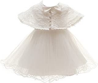 Meiqiduo Baby Princess Girls Christening Baptism Gowns Formal Dress 2Pcs Ivory White with Cloak