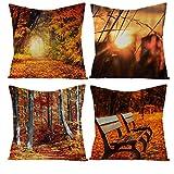 Aartoil Juego de 4 fundas de almohada de 40 x 40 cm, tela de lino marrón que caen hojas de otoño, fundas de almohada decorativas para sofá, sillón, juego de 3