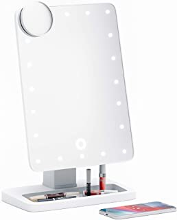 Simply Glamour Adjustable Vanity Mirror with Bluetooth Speaker, USB Charging, LED Lighting, Hands-free calling, Siri and Google Assistant Support (10x Magnifying Mirror Included)
