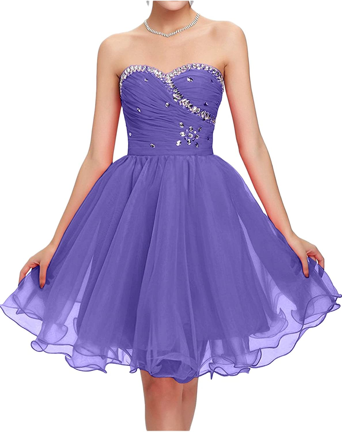 DressyMe Women's Tulle Cocktail Party Dresses Strapless Short Party Dress
