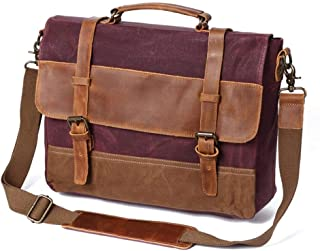 ERWEIRUILAN Vintage Men's Bag Oil Lac Canvas Bag Crazy Horse Leather Briefcase Europe and America Shoulder Messenger Bag (Color : Rosy)