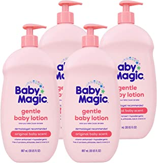 Baby Magic Gentle Baby Lotion   30oz (Pack of 4)   Vitamins & Aloe   Free of Parabens, Phthalates, Sulfates and Dyes