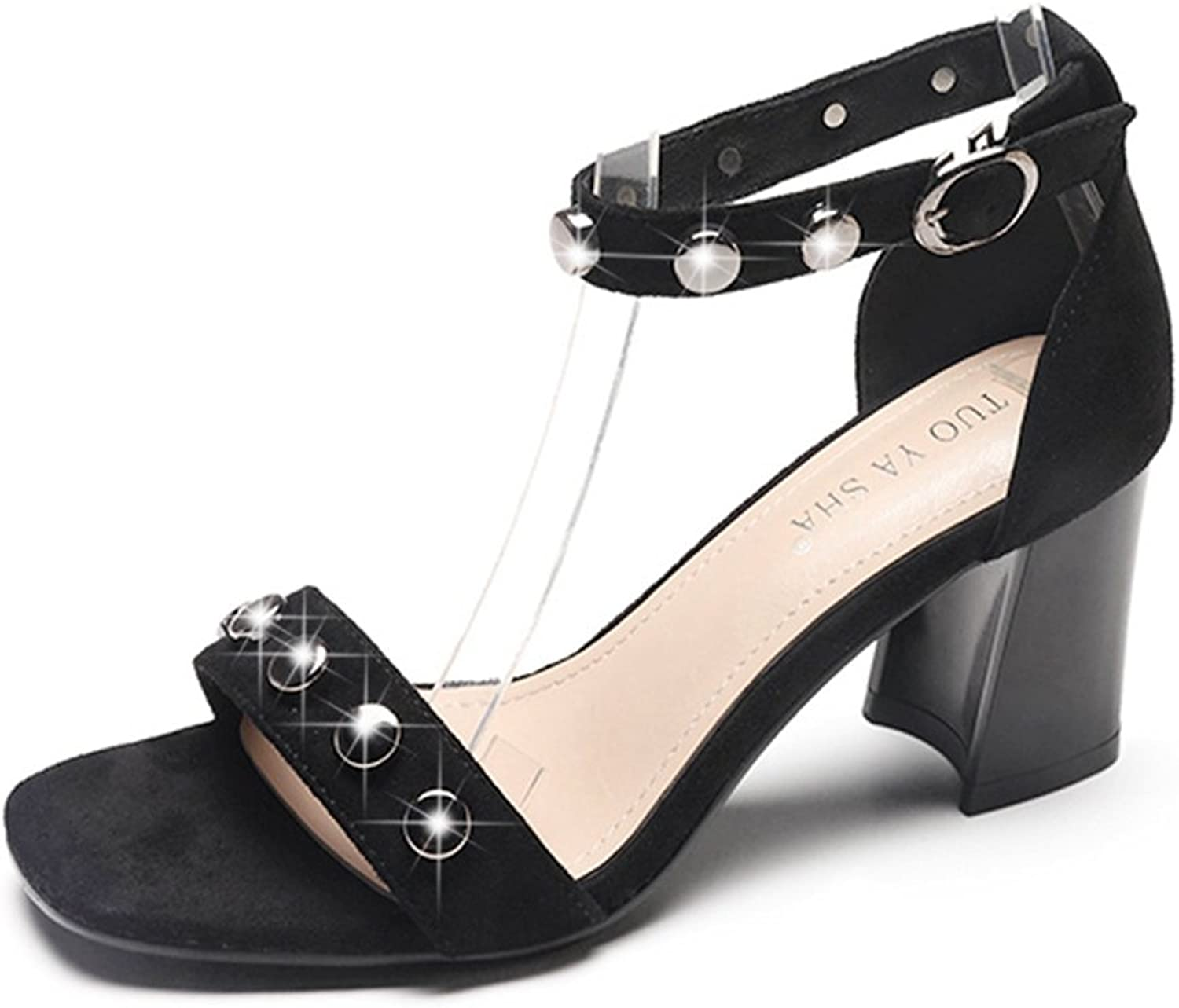 T-JULY Women's Rivets Studded Strappy Suede Open Toe Slides Sandals with Buckle Chunky Heel Sexy Slip On Dressy shoes
