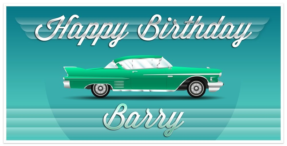 Super Special SALE held [Alternative dealer] Green Classic Car Chevy Birthday Personalized Par Banner Vintage
