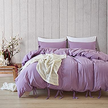 DuShow Solid Color Egyptian Wash Cotton Duvet Cover Luxury Bedding Set High Thread Count Long Staple Weave Silky Soft Breathable Bed Linen (Purple,Queen)