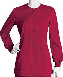 NRG by Barco Uniforms Women's Warm Up Solid Scrub Jacket XXX-Large Hot Tamale