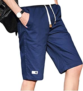 MogogoMen Summer Straight Slim Fit Cropped Trousers Casual Beach Trousers