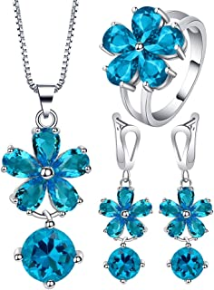 VPbao Flower Round Crystal Pendant 925 Sterling Silver Plated Jewellery Sets Blue