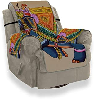 ZSHMG Sofa Slipcover Home Fashion Traditional Indian Rajasthani Wall Painting Elephant Slipcover Furniture Protector21 Inch, Ideal Recliner Slipcovers Fo