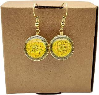 Girasole Helianthus Crisantemo Vero Fiori Bicchiere Placcato Oro Orecchini Goccia e pendenti