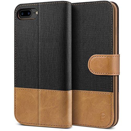 BEZ Hülle für iPhone 8 Plus Hülle, Handyhülle Kompatibel für iPhone 7 Plus, iPhone 8 Plus, Handytasche Schutzhülle Tasche [Stoff & PU Leder] mit Kreditkartenhaltern, Schwarz