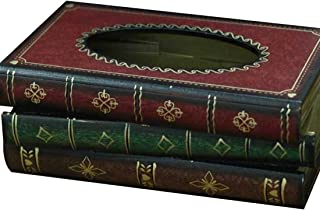 LYUS Tissue Holder Elegant Wooden Antique Book Design Tissue Paper Holder Dispenser Novelty Napkin Holder Toilet Bath Facial Tissue Box (Red)