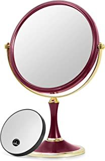 """OMIRO TRAVEL MAKEUP MIRROR - Double-sided Swivel 1X/3X Magnification Mirror,8"""" (Red)"""