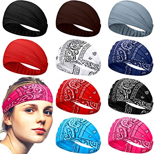 10 Pieces Paisley Print Headbands Elastic Wide Bandana Headbands Stretchy Headwrap for Women Girls Yoga Outdoor Activities (Headbands without Buttons)
