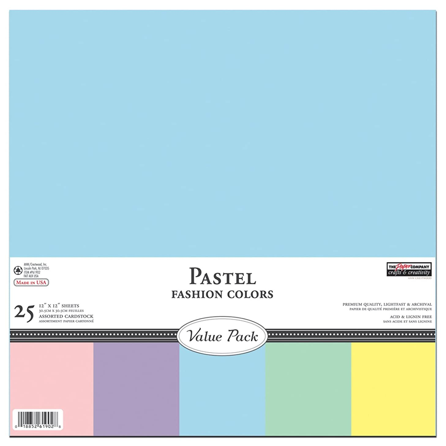 Light Colors Pastel Cardstock Scrapbook Paper - Construction Paper, 12 by 12 (25 Sheets)