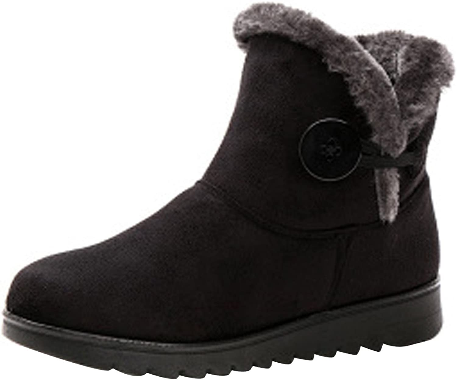 VFDB Women Winter Botton Snow Ankle Boots Fur Warm Platform Slip On Booties