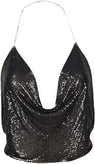 EFINNY Women's Summer Deep V Metal Alloys Clubwear Camisole Crop Tops