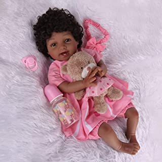 Kaydora Reborn Baby Dolls Black Girl, 22 inch Lifelike Soft Weighted Body, Silicone Laughing Doll
