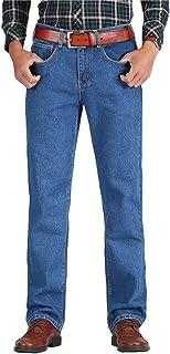 Men Cotton Straight Classic Jeans Denim Pants