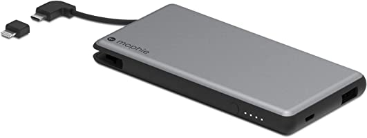 mophie Powerstation Plus External Battery with Built-in Cables for Smartphones and Tablets (6,000mAh) - Space Grey