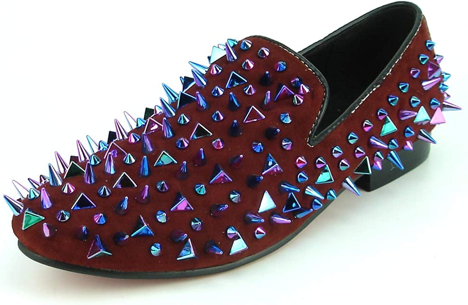 Fiesso by Aurelio Garcia FI-7239-S Burgundy Suede Multi color Spikes Slip on Loafer European shoes Designs