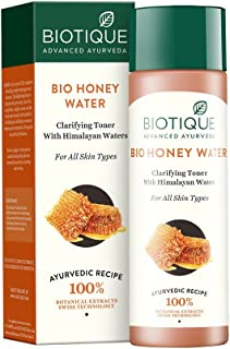 Biotique Bio Honey Water Clarifying Toner, 120ml I With Himalayan Water I All Skin Type I Blended With Pure Honey, Aloe Vera, Manjishtha, Nutgalls, Carrot, Sandalwood And The Fresh Waters
