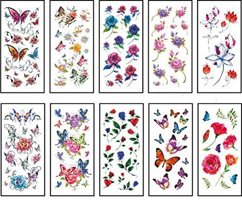10 grande fleur tatouage tatouage temporaire style mixte corps tatouage autocollants rose fleur papillon pour femme fille bras arrière épaule jambe