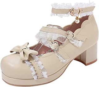 ELEEMEE Women Sweet Bow Shoes with Lace Mid Block Heels Round Toe