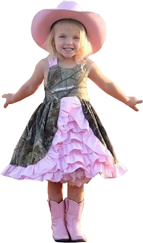 Camo Satin Ruffle Flower Girls Dresses for Wedding Bow Sapghetti Special Occasion Dress for Little Girl
