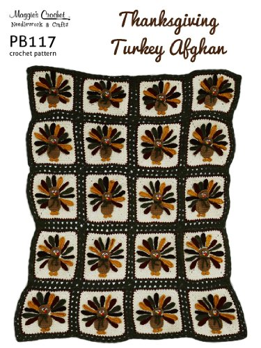 Crochet Pattern Thanksgiving Turkeys Afghan PB117-R
