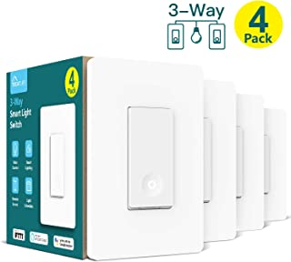 3-way Smart Light Switch,Treatlife WiFi Light Switch Single Pole/3-way Switch Works With Alexa, Google Assistant and IFTTT, Remote Control, ETL, Schedule, No Hub Required, Neutral Wire Required,4 PACK