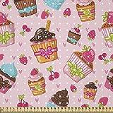 ABAKUHAUS Rosa Stoff als Meterware, Küchen Cupcakes