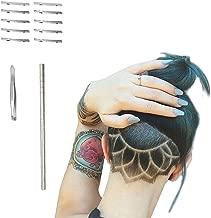 Hair Tattoo Straight Razor, Face Eyebrow Hair Shaping Trimmer For Men,Women, Engraved Razor Stick + 10 Blades + 1 Tweezers by BabyKim