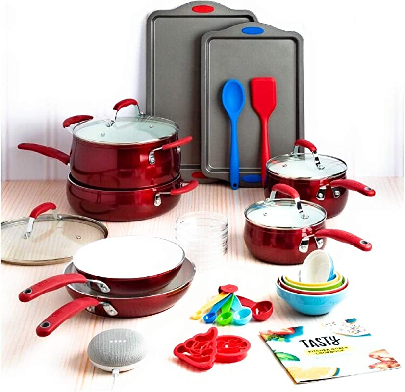 Tasty 30 Piece Non Stick Cookware Set Google Home Mini Red