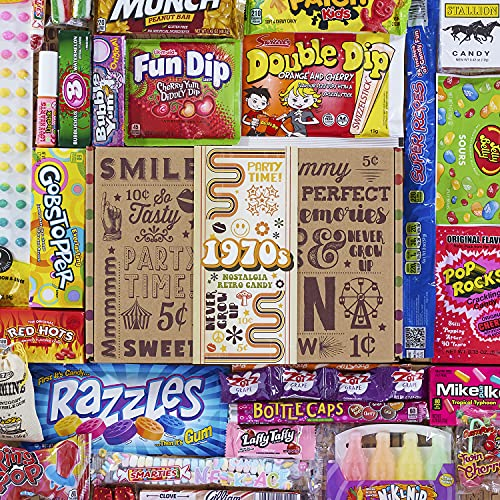 VINTAGE CANDY CO. 1970s RETRO CANDY GIFT BOX - 70s Nostalgia Candies - Flashback SEVENTIES Fun Gag...