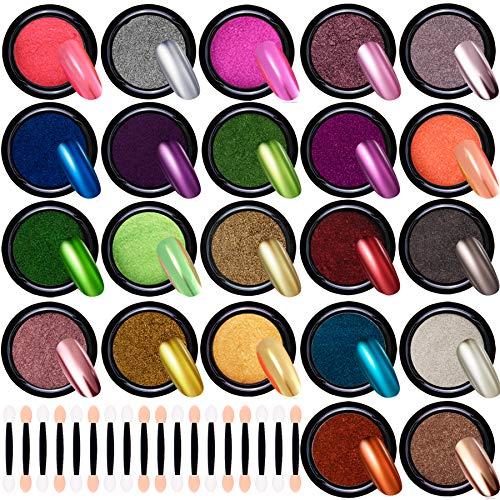 Duufin 22 Colores Efecto Espejo para Uñas Polvo Holografico para Uñas con 22 Piezas Palos de Sombra de Ojos para Decoración de Arte de Uñas, 1g/Cajas