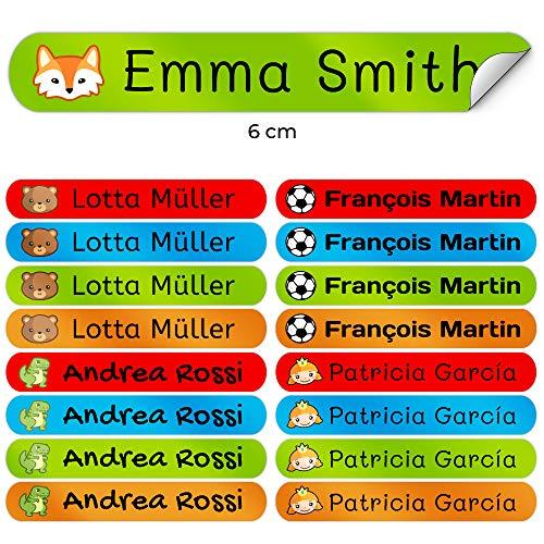 50 Etichette Adesive Personalizate per contrassegnare libri e portapranzo. Misura 6 x 1 cm. Colore 1