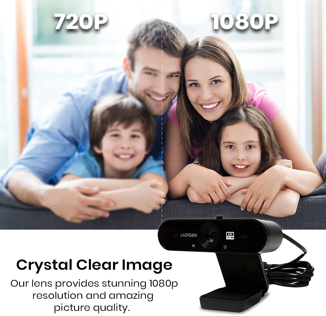 Last Gen Full 2K Webcam | 4 MP Full HD | 1080p 2560 x 1440 Resolution at 30 fps | Auto-Focus, Built-in Privacy Cover