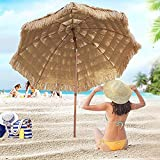 ELLENS Sombrilla de Playa al Aire Libre de 2,4 m, sombrilla Hawaiana, sombrilla de jardín, sombrilla de Patio con botón inclinable, sombrilla a Prueba de Viento (Color Natural)