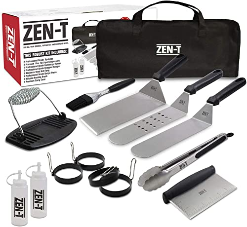 ZEN-T - 14 Piece Grill Griddle BBQ Tool Kit - Heavy Duty Professional Grade Stainless Steel BBQ Tools - Perfect Grill...