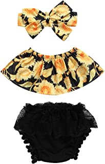 hirigin Newborn Baby Girl Sunflower Tube Top+Lace Pompom Layered Tulle Short Pants+Headband