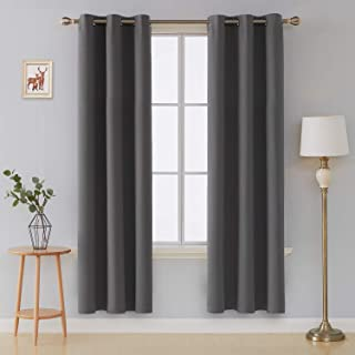 Deconovo Room Darkening Thermal Insulated Grommet Top Window Blackout Curtains Panels for Bedroom Dark Grey 42x84 Inch